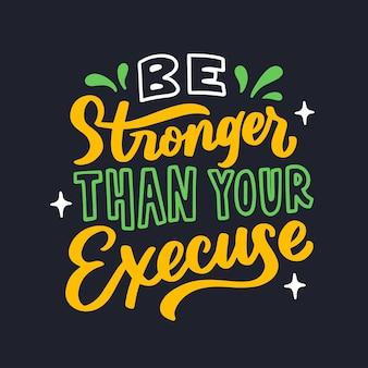Wees sterker dan uw doel belettering typografie citaat poster inspiratie motivatie