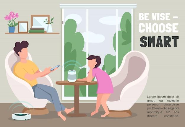 Wees verstandig, kies een slim bannermalplaatje. internet of things brochure, poster concept met stripfiguren. interactieve horizontale flyer voor huisapparaten, folder met plaats voor tekst