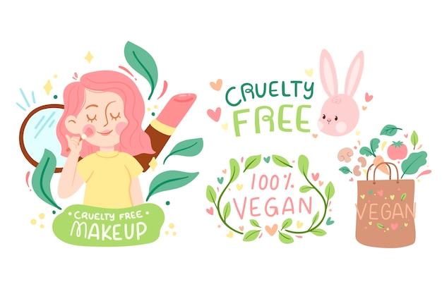 Wees vriendelijk met het veganistische concept van dieren