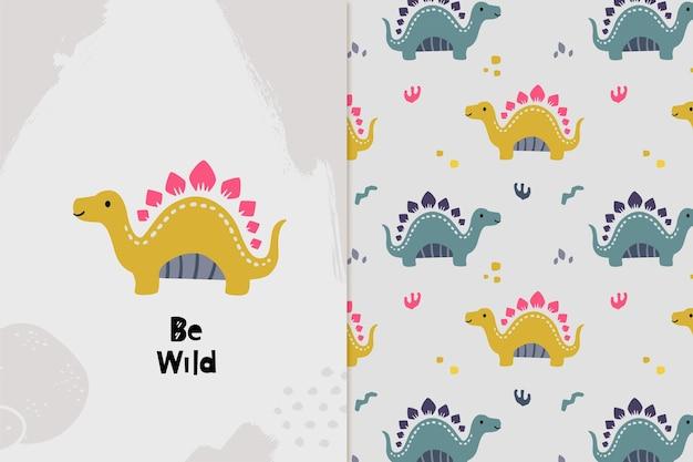 Wees wild dino en naadloos patroon