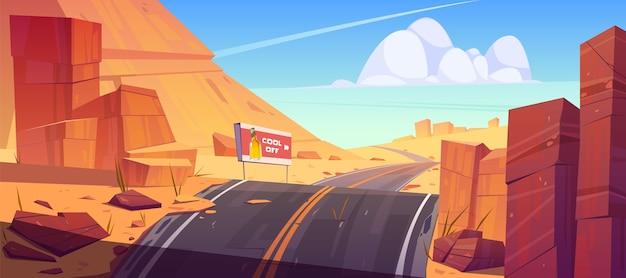 Weg en aanplakbord in woestijn met rode rotsen.