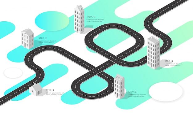 Weg en isometrische huizen en gebouwen