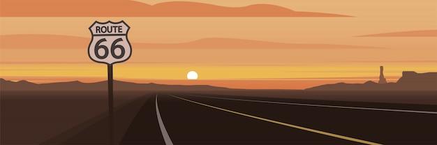 Weg en route 66 teken en zonsondergang
