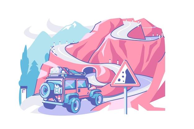 Weg en vrachtwagen vector illustratie complexe weg en vallende rotsen teken vlakke stijl reizen in berg kronkelende weg verkeersregels concept geïsoleerd