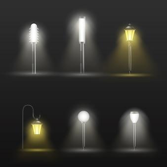 Weg, gang openluchtlampen in modern en klassiek ontwerp