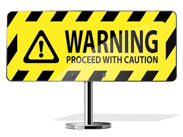 Weg geel waarschuwingsbord