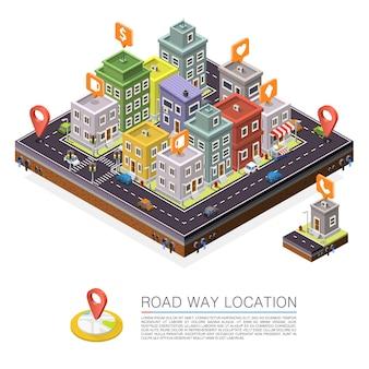 Weg in de stad isometrisch, stadsgezicht locatie. vector achtergrond