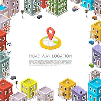 Weg in het stadsbeeld isometrisch, stadslocatie appartement, vector achtergrond