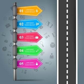Weg infographic ontwerpsjabloon