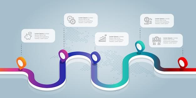 Weg isometrische infographics presentatie element sjabloon met zakelijke pictogrammen 5 opties vector afbeelding achtergrond