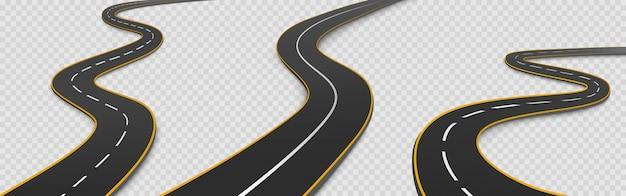 Weg, kronkelende snelweg geïsoleerd tweebaans pad