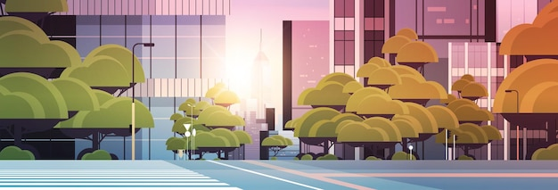 Weg lege straat met zebrapad stad gebouwen skyline moderne architectuur stadsgezicht