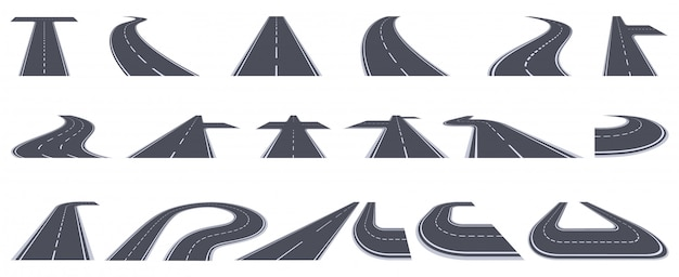 Weg manier. buigende asfalt snelweg, gebogen perspectief wegen, stedelijke buigende stad pad illustratie set. asfaltlijn draaien, volg de voorwaartse snelheidsrichting