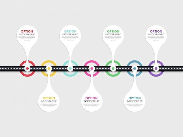 Weg manier locatie infographic sjabloon met een gefaseerde structuur