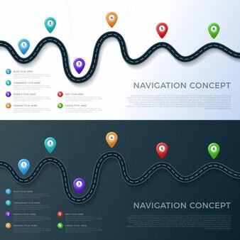 Weg manier locatie infographic sjabloon met pin pointer.