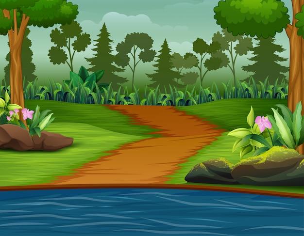 Weg naar de rivier met een bosillustratie