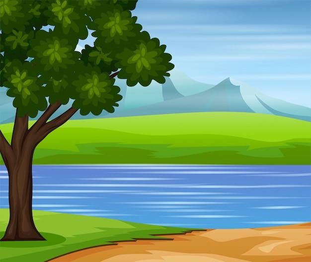 Weg naar de rivier met een natuurlandschap