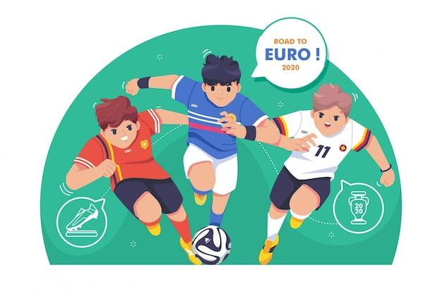 Weg naar euro voetbal illustratie