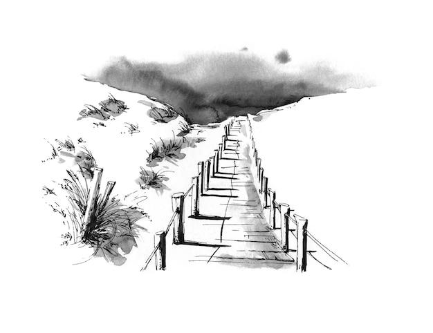 Weg naar het strand in de inktillustratie van zandduinen