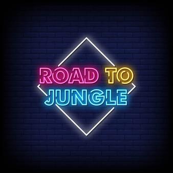 Weg naar jungle neon tekenen stijl tekst