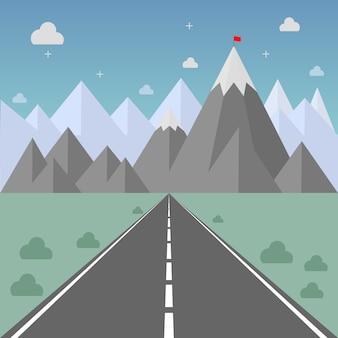 Weg naar succes. weg naar bergketen met rode vlag bovenaan