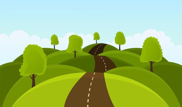 Weg op heuvels tussen bomen en weiden.