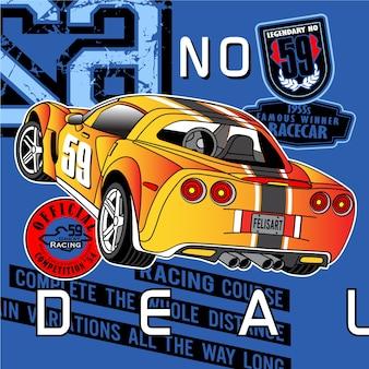 Weg race club, auto race illustratie