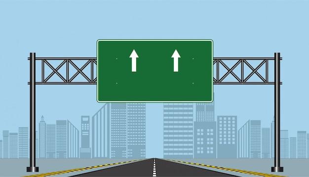 Weg snelweg tekenen, groen bord op de weg