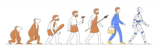 Weg van aap naar cyborg of robot illustratie