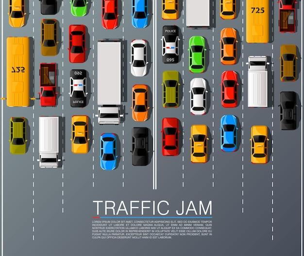 Wegauto's vervoer, verkeersopstopping achtergrond. vector illustratie