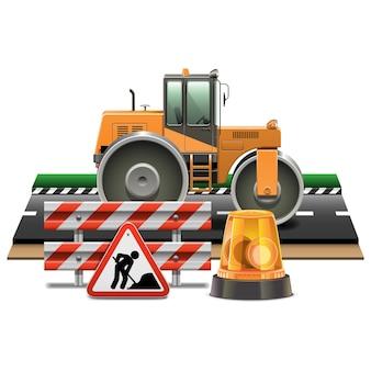 Wegenbouw met road roller