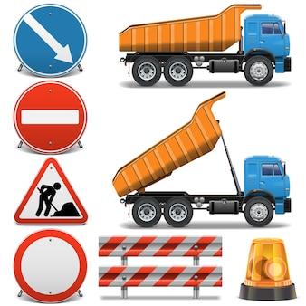 Wegenbouw pictogrammen set 2