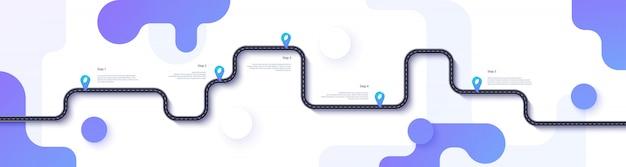 Wegenkaart en reisroute infographics sjabloon. kronkelende weg tijdlijn illustratie. vlakke afbeelding.
