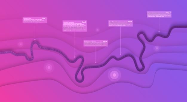 Wegenkaart infographics sjabloon