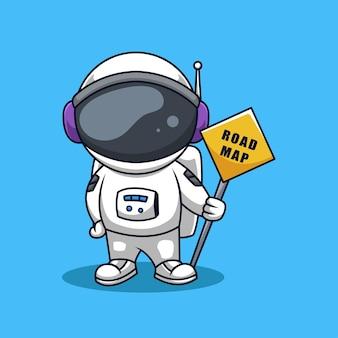 Wegenkaart teken leuke astronaut creatieve cartoon logo