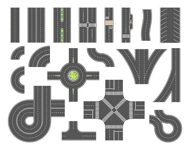 Wegenkaart toolkit - set moderne vector stadselementen geïsoleerd op een witte achtergrond voor het maken van uw eigen afbeeldingen. kruispunten, voetgangerszones, rotonde, parkeerplaats, bocht. positie bovenaanzicht