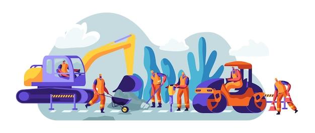 Wegenreparatie met bouwmachines en werkende mensen. graafmachine en rollende zware voertuigen die asfaltonderhoud maken. machines en waarschuwingsborden constructie. cartoon platte vectorillustratie