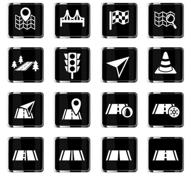 Wegenwebpictogrammen voor gebruikersinterfaceontwerp