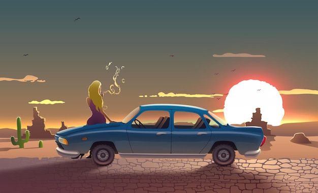 Weglandschap met retro auto rokende chauffeur vrouw met arizona zon bergen stenen en cactussen