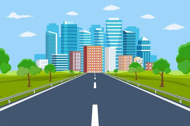 Wegmanier naar stadsgebouwen aan de horizon.