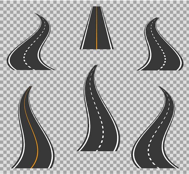 Wegpictogrammen voetpad buigen en hoge manieren. weg bochten geometrisch ontwerp