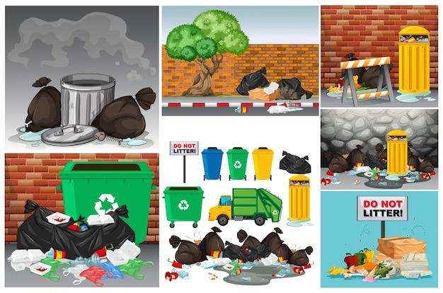 Wegscènes met afval en vuilnisbakken