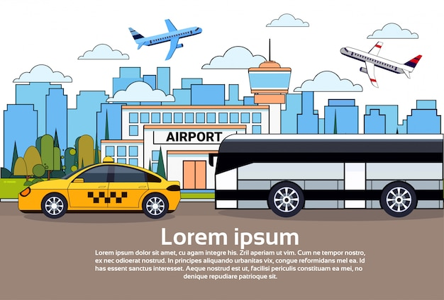 Wegverkeer met bus en taxiauto over luchthavengebouwen en vliegtuigen in hemel