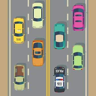 Wegverkeer met hoogste meningsauto's en vrachtwagensstraatvector. verkeer met politiewagen en taxi, illus