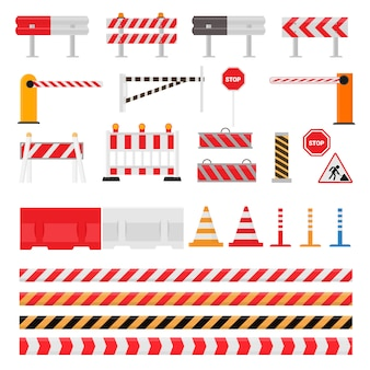 Wegversperring straat verkeersversperring waarschuwing en barricadeblokken op snelweg illustratie set wegversperring omweg en geblokkeerde wegwerkzaamheden barrière geïsoleerd op witte achtergrond