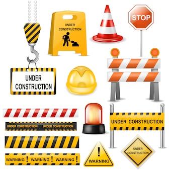 Wegversperring straat verkeersversperring waarschuwing en barricadeblokken op snelweg illustratie set wegversperring omweg en realistische geblokkeerde wegwerkzaamheden barrière geïsoleerd op witte achtergrond