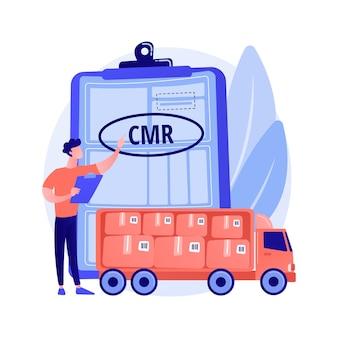Wegvervoer documenten abstract concept vectorillustratie. cmr-vervoersdocument, internationale transportregelgeving, vrachtbrief, luchtvrachtbrief, abstracte metafoor voor bedrijfslogistiek.