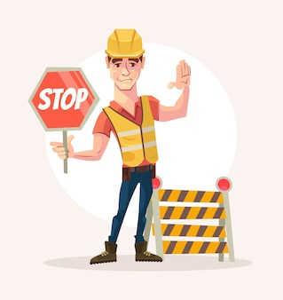 Wegwerker man karakter houdt stopbord. platte cartoon afbeelding