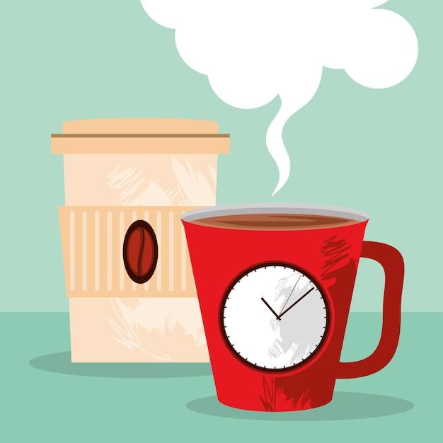 Wegwerp en mok koffie