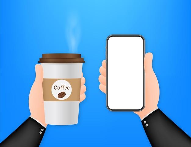 Wegwerp koffiekopje in de hand en smartphone. vector voorraad illustratie.